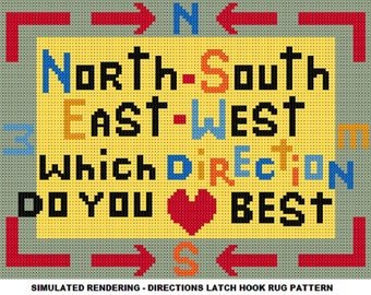 Latch Hook Pattern - Directions Latch Hook Rug Pattern - Mailed Pattern Only! Free Shipping Within United States!