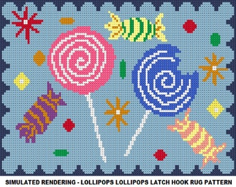 Latch Hook Pattern - Lollipops Lollipops Latch Hook Rug Pattern - Mailed Pattern Only! Free Shipping Within United States!