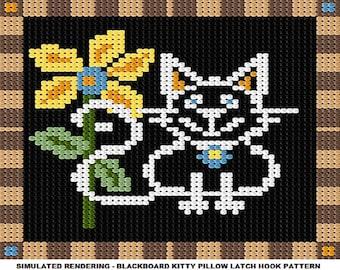 Latch Hook Pattern - Blackboard Kitty Pillow Latch Hook Pattern - PDF Instant Download