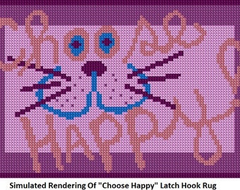 Latch Hook Pattern -Choose Happy Latch Hook Rug Pattern - Mailed Pattern Only! Free Shipping Within United States Only!