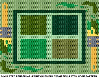 Latch Hook Pattern - Paint Chips Pillow (Green) Latch Hook Pattern - Mailed Pattern Only! Free Shipping Within United States Only!