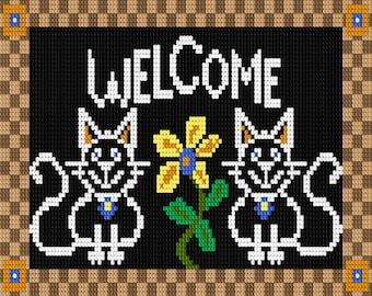 Latch Hook Pattern - Blackboard Kitty Welcome Mat Latch Hook Rug Pattern -  Mailed Pattern Only! Free Shipping