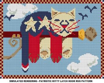Latch Hook Pattern - Patriotic Kitty Latch Hook Rug Pattern - PDF Instant Download