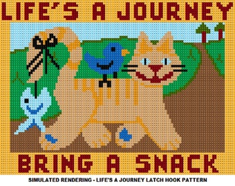 Latch Hook Pattern - Life's A Journey Latch Hook Rug Pattern - Mailed Pattern Only! Free Shipping Within United States!