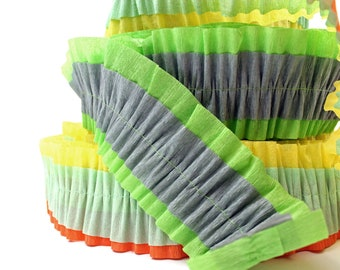 Ruffled Crepe Paper Decoration - Lime Green - Grey
