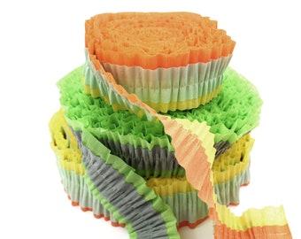 Ruffled Crepe Paper Decoration - Orange - Pale Sea Green - Yellow