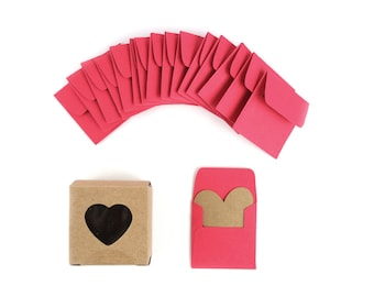 Super Mini Heart Cards with Handmade Envelopes in a Paper Heart Box