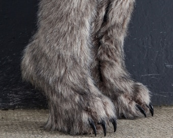 Urethane Outdoor Realistic Two-Tone Luxury Grey Two Tone Faux Fur Covered Heel-Less Knee High Furry Fursuit Claw Boots Custom Colour Style