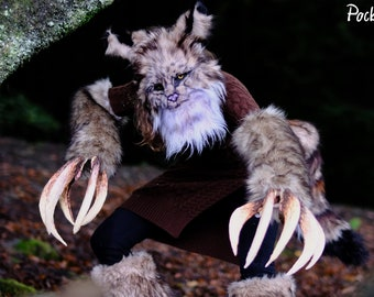 Lynx Huge Claw + Mask set, Long Claws, Beast Fursuit, Masquerade, Halloween party, Beast Tail, Pointy Ears, Fluffy Fangs, Wildcat, Bobcat