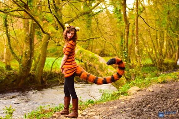 Animale Orecchie E Coda Marrone Scuro Lungo Lusso Pelliccia Animale Costume Set