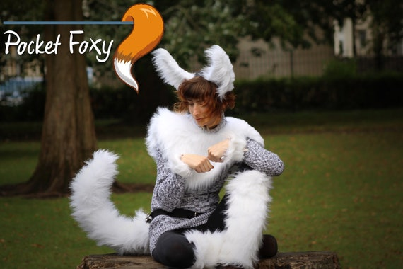 Fursuit Costume Cosplay Furry White Arctic Fox Faux-Fur Fox Tail