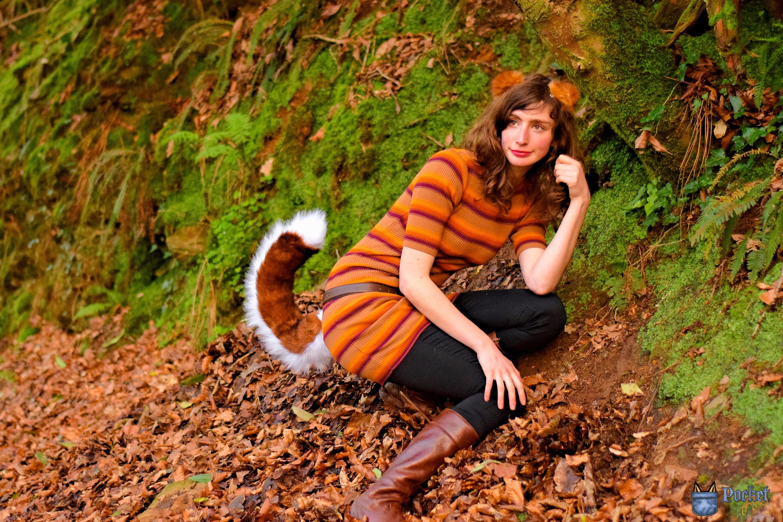Dog Ears & Tail Set! Pomeranian Ear Headband and Perky Curled Tail! Red  White Malamute Husky Fox Realistic Fluffy Furry Fursuit Costume
