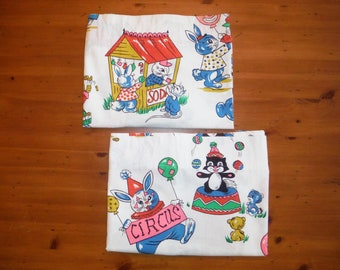 2 Delightful Vintage Child's Drapes - Vintage Child's Circus Animals Fabric - 1950's Curtains Baby Fabric - '50's Nursery Drapery Panel