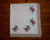 Shabby Chic Cross Stitch Roses Tablecloth - 1950 39 s Embroidered Pink Flowers Tablecloth Linen - Vintage Cross Stitched Crocheted Table Linen