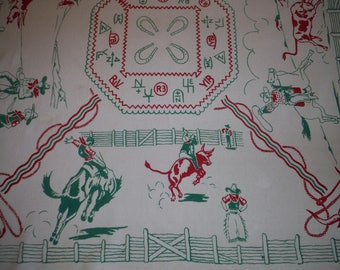 Fantastic 1940's Cowboys Western Printed Tablecloth - Vintage Cowboy Rodeo Bucking Bronco Print Tablecloth - '40's Cattle Brands Tablecloth