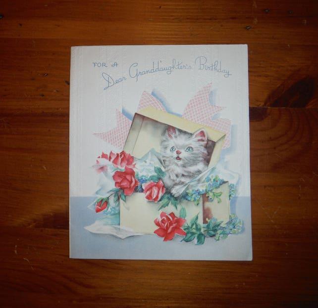 Adorable Vintage Granddaughters Birthday Card