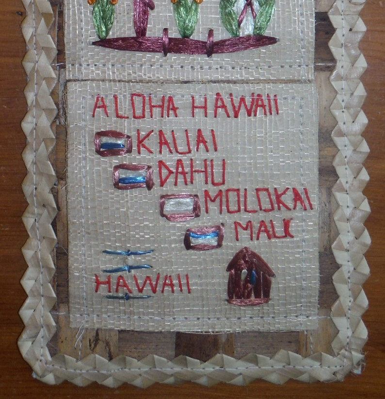 Vintage Tiki Tropical Barware Decor Vintage Kitschy Hawaii Woven Wall Organizer 1980/'s Hawaiian Aloha Letter Postcard Wall Pocket Holder