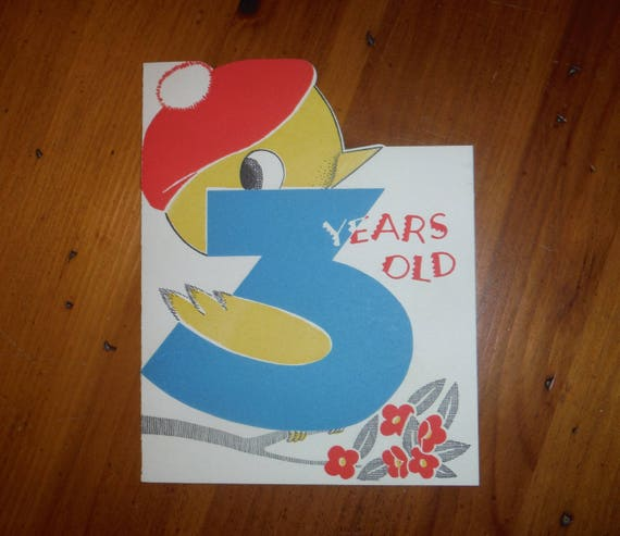 Vintage 1940s Three Years Old Birthday Card Etsy