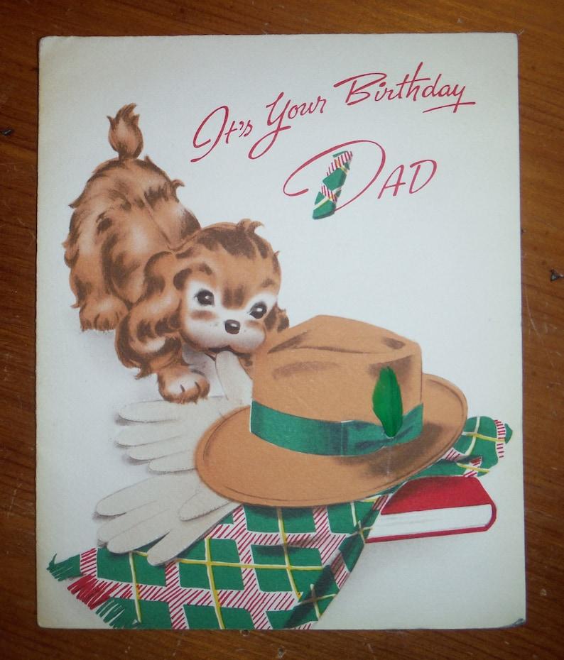 Cute Vintage 1940/'s Dad Birthday Card 1940/'s Daddy Norcross Birthday Card Ephemera /'40/'s Puppy Dog Father Dad Birthday Greeting Card