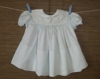 1970's Blue Smoked Vintage Baby Dress - Vintage '70's Pale Blue Embroidered Summer Infant Toddler Dress - Vintage Fancy Dress Up Baby Dress
