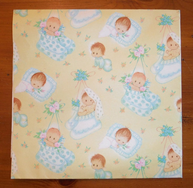 2 Vintage 1950 S New Baby Wrapping Papers Vintage Baby Infant Gift