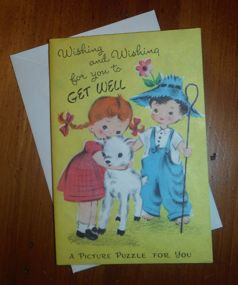Vintage 1950/'s Child Religious Get Well Card Vintage Bible Verse Activity Get Well Card /'50/'s Child Boy Girl Friend Get Well Card
