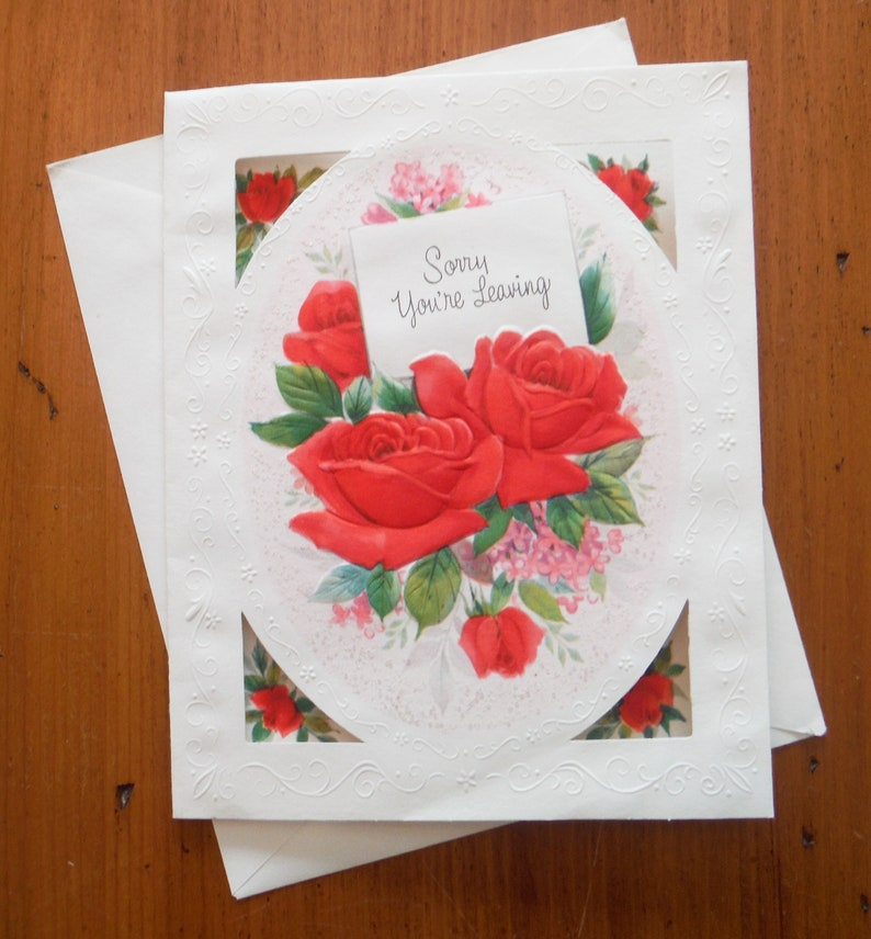 /'70/'s Floral Red Roses Miss You Moving Good Bye Card Ephemera Vintage Friend Sorry You/'re Leaving Card Vintage 1970/'s Goodbye Card