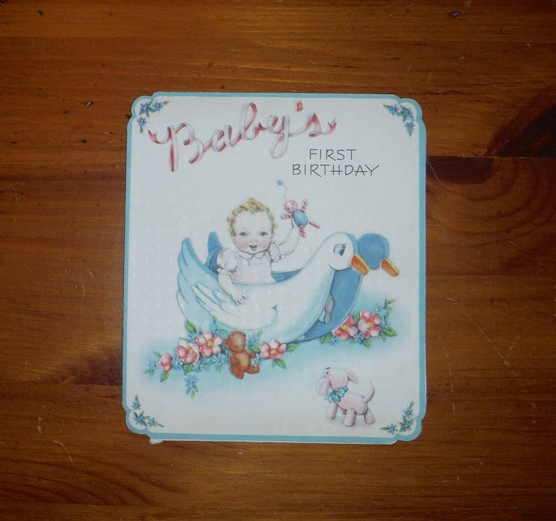 Vintage 1940s Childs One Year Old Birthday Card