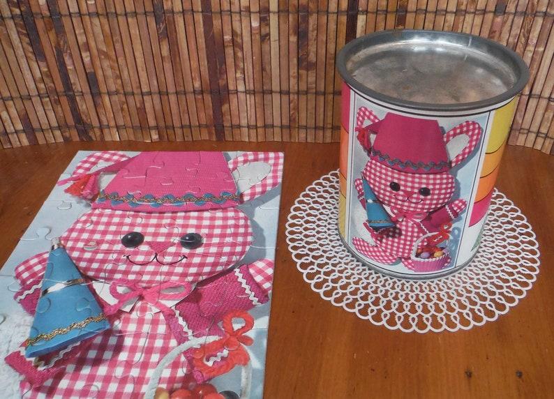 Retro Animals Art Decor Vintage Retro Party Bunny Jigsaw Puzzle Mod Groovy 1970/'s Bunny Rabbit Birthday Tube Canister Jigsaw Puzzle