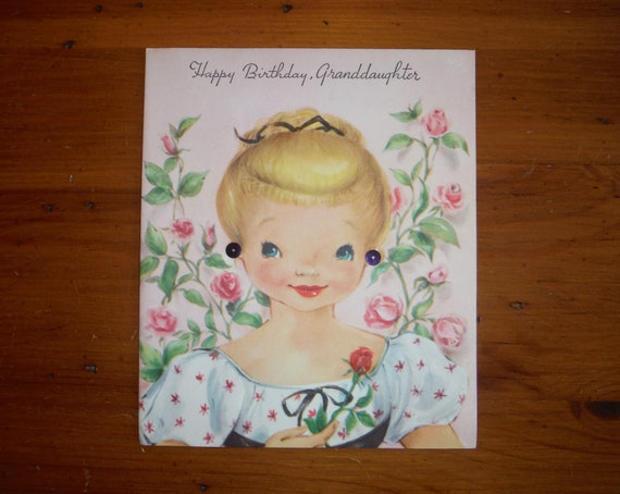 Vintage 1950s Granddaughter Birthday Card 50s
