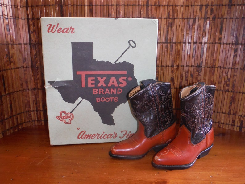 a1901b493f7 Rare Vintage Child's Cowboy Boots in Box - Vintage Child Texas Brand  Western Leather Stitched Boots - Vintage 1970's Size 140 Cowboy Boots