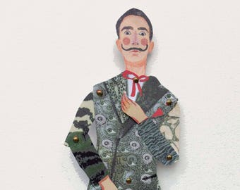 Salvador Dali cut out and make Paper puppet, craft puppet, gifts for teenagers, puppet kits, rainy day activity, quality