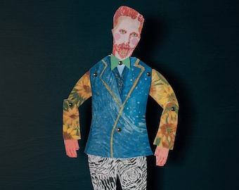 Vincent Van Gogh cut out and make Paper puppet, craft puppet, gifts for teenagers, puppet kits, rainy day activity, quality
