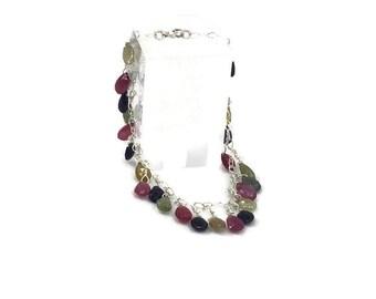 "Beautiful Multicolored Sapphire drop charm bracelet, 7"""