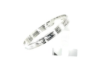 Sterling Silver Bangle with hearts
