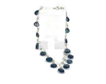 "Stunning London Blue Topaz Charm Bracelet 8"""