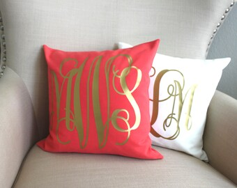 Monogram Metallic Pillow Custom Cover | CHOOSE Borders, Pillow Cover, Foil, Turquoise, Ivory Coral  monogram pillow wedding name