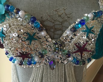 efb6339f50dcc Stunning Silver w Turquoise and Violet Mermaid Top-Show Stopper Mermaid  Costume-Mermaid Bra