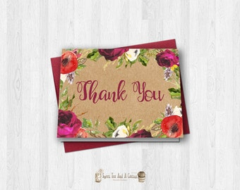 Red and Burgundy Floral Kraft Paper Thank You Card Printable Digital File Flowers Summer Garden Note Cards Rustic Country Bohemian Boho