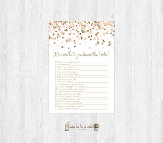 How Well Do You Know The Bride Printable Game Blush Pink