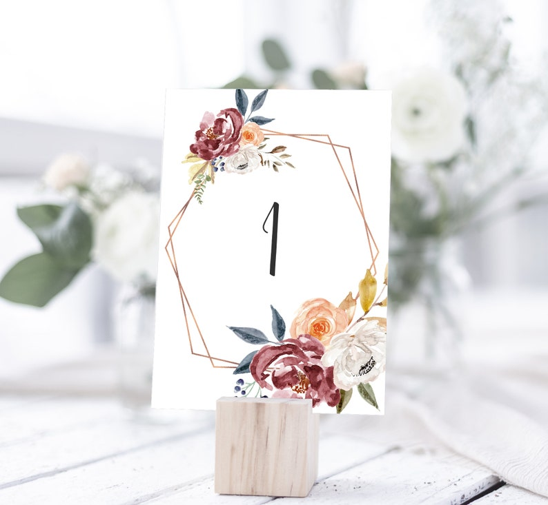 Fall Floral Table Numbers Marsala Red Navy Blue Rose Gold Etsy
