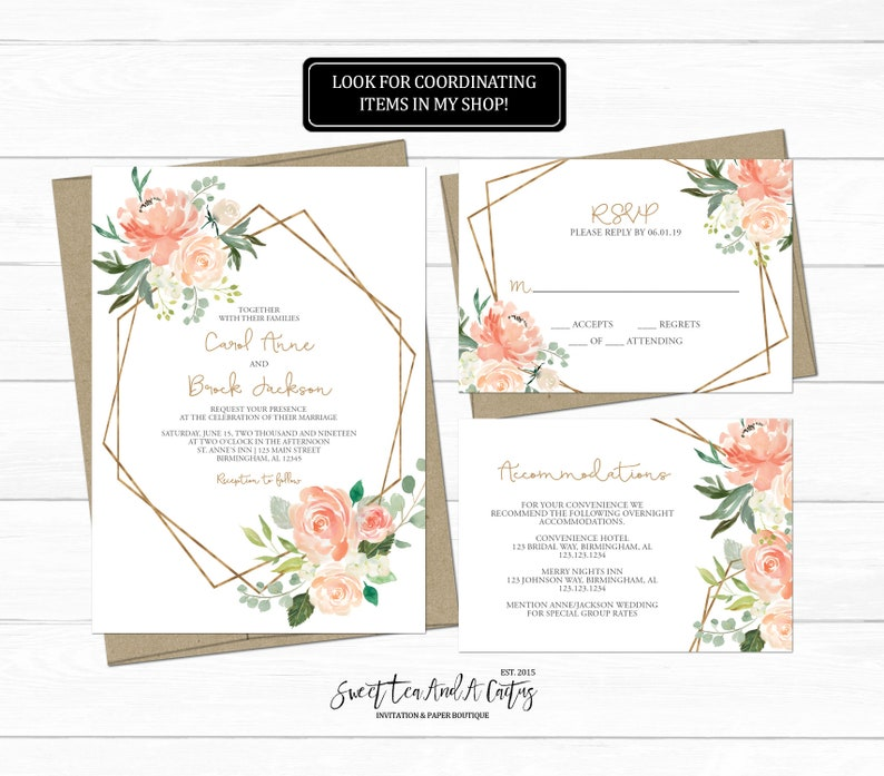 Floral Geometric Wedding Inviation Suite Farmhouse Rustic Rose Sweet Light Flower Gold Spring Summer Soft Peach and Cream