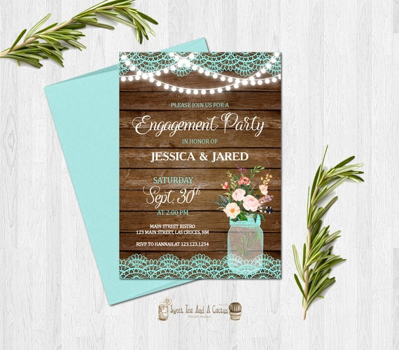 Rustic Engagement Party Invitation Country Turquoise Lace