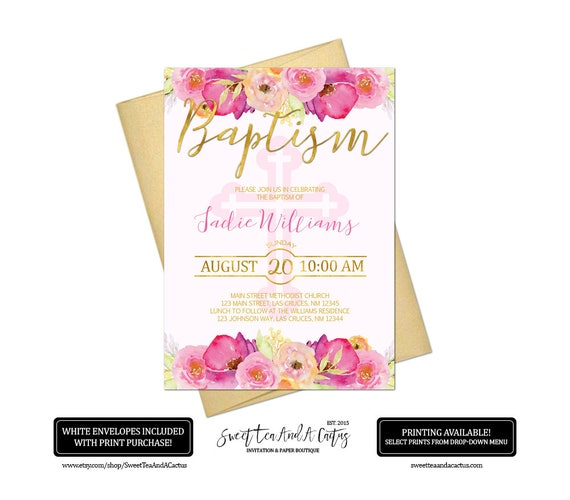 floral girl baptism invitation pink and gold baby christening etsy