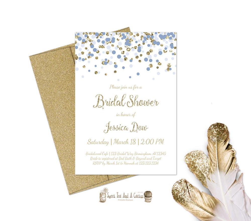 Serenity and Gold Bridal Shower Invitation Printable Confetti | Etsy