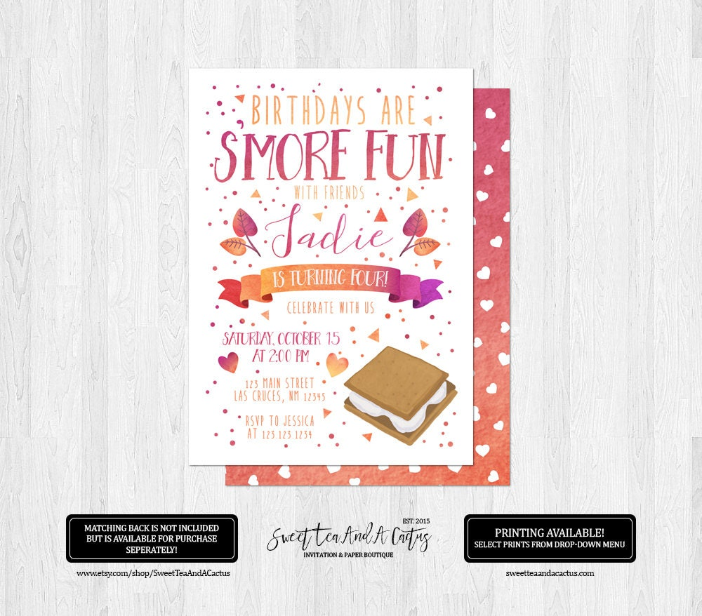S\'mores Girls Birthday Invitation Fall Party Invites Pink | Etsy