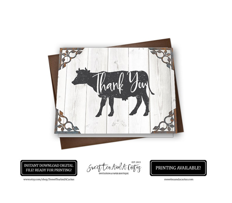 Farmhouse Rustic Thank You Card Cow Farm Animal Stationary Note Cards Baby Shower Bridal Wedding Birthday Party Printable Digital File
