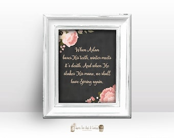 Narnia C S Lewis Quote Wall Print Printable Home Decor childrens nursery digital file chalkboard art home decor book movie floral