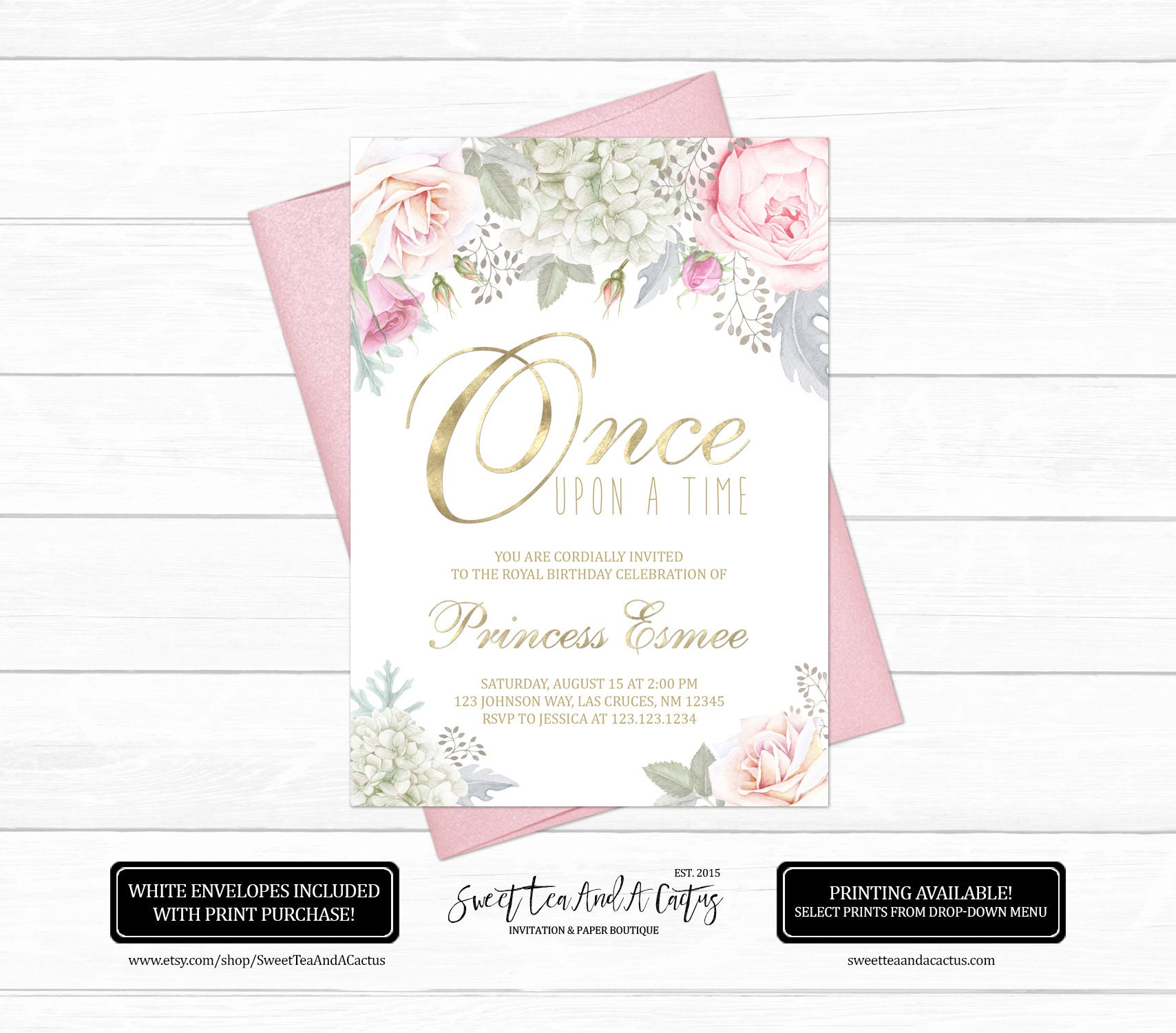 Princess Floral Birthday Invitation Fairytale First