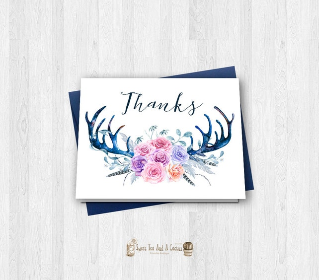 Boho Deer Antler Thank You Card Printable Rustic Country Note Cards